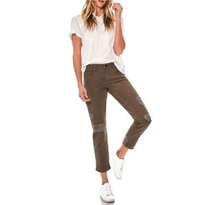 BLANK NYC Destructed Cropped Girlfriend Jeans